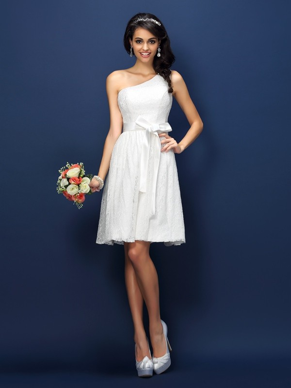 A Lineprincess One Shoulder Lace Sleeveless Short Lace Bridesmaid Dresses