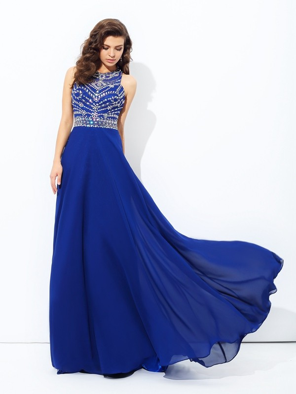 11c8058bbd99 A-line Princess Scoop Beading Dress with Long Chiffon - DylanQueen