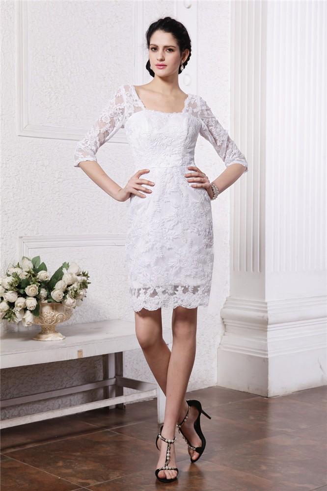 Half Sleeves Short Wedding Dress Complete