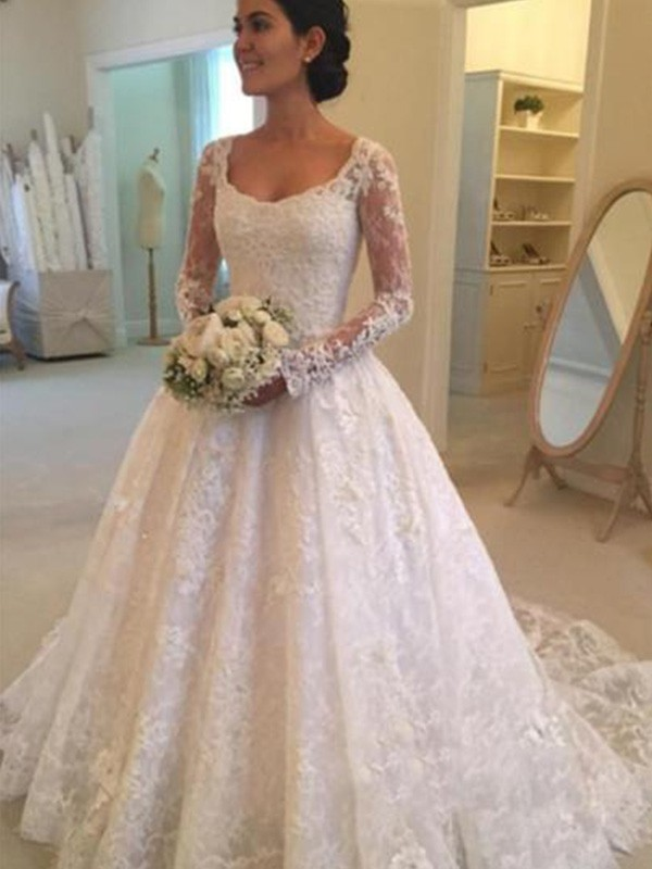 Ball Gown Long Sleeves Scoop Cathedral Train Ruffles Lace Wedding Dress