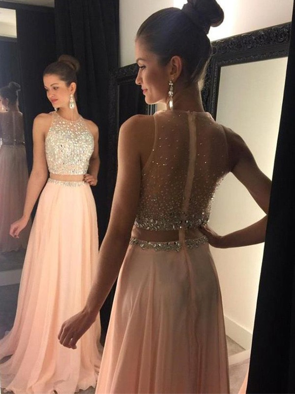 aba89a8cf24 A-Line Princess Scoop Sweep Brush Train Chiffon Dress - DylanQueen