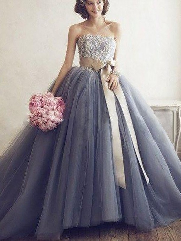 860dfdf40fb Ball Gown Sweetheart Sleeveless Applique Tulle Sweep Brush Train Dresses