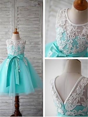 Ball Gown Sleeveless Scoop Bowknot Knee-Length Tulle Flower Girl Dresses