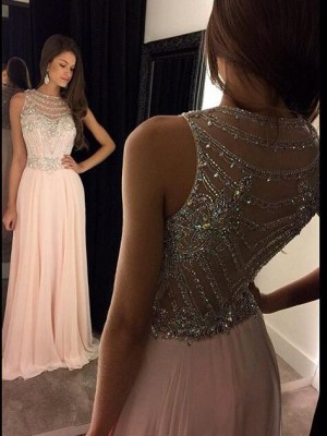 A-Line/Princess Sleeveless Scoop Chiffon Crystal Sweep/Brush Train Dresses