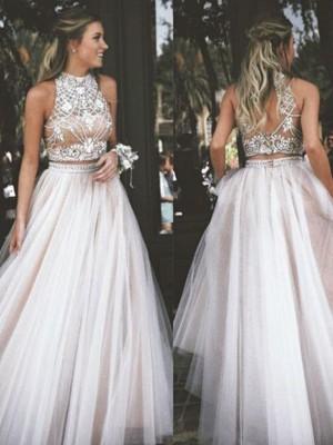 A-Line/Princess Sleeveless Tulle Beading Floor-Length Dresses