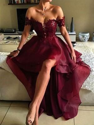 A-Line/Princess Sleeveless Off-the-Shoulder Asymmetrical Applique Organza Dresses