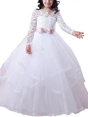 Ball Gown Jewel Long Sleeves Lace Floor-Length Tulle Flower Girl Dresses