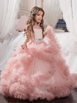 Ball Gown Jewel Short Sleeves Crystal Floor-Length Tulle Flower Girl Dresses