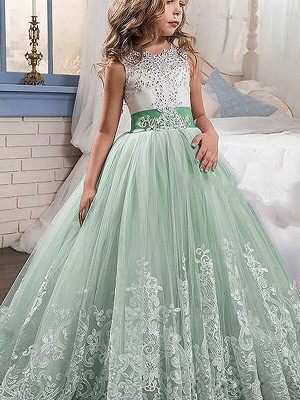 Ball Gown Jewel Sleeveless Lace Sweep/Brush Train Tulle Flower Girl Dresses
