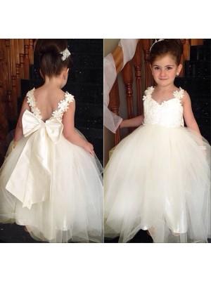 Ball Gown Sweetheart Sleeveless Bowknot Floor-Length Tulle Flower Girl Dresses