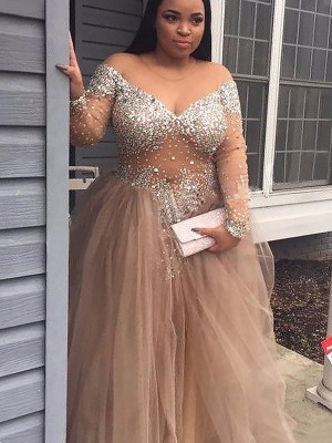 Ball Gown Off-the-Shoulder Sleeveless Sequin Tulle Floor-Length Dresses