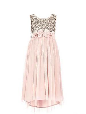 A-line/Princess Sleeveless Scoop Sequin Chiffon Floor-Length Flower Girl Dresses
