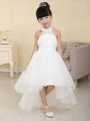 A-line/Princess Beading Sleeveless High Low Organza Flower Girl Dresses