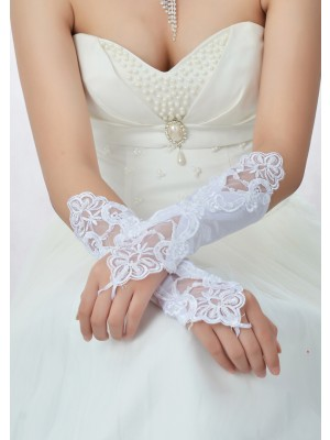 Lace Satin Wedding Gloves IDRESS912