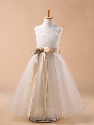 Ball Gown Jewel Sleeveless Bowknot Tea-Length Tulle Dresses