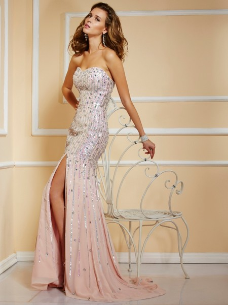 A-Line/Princess Beading Strapless Dress with Chiffon