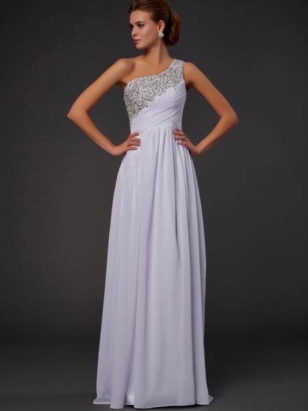 Sheath/Column One-Shoulder Beading Dress with Chiffon
