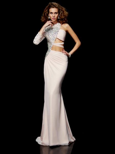 Sheath/Column One-Shoulder Ruffles Dress with Chiffon