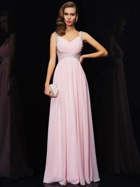 A-Line/Princess V-neck Beading Dress with Chiffon