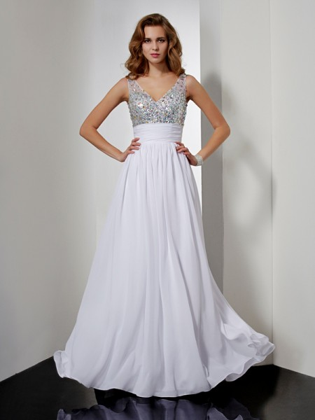 A-Line/Princess V-neck Dress with Long Chiffon