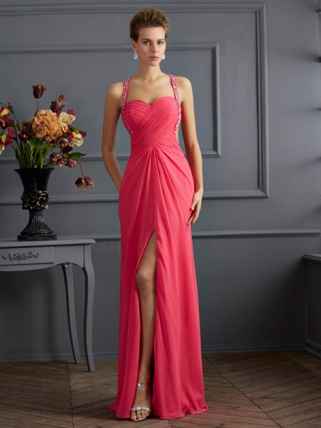 Empire Sweetheart Ruffles Dress with Long Chiffon
