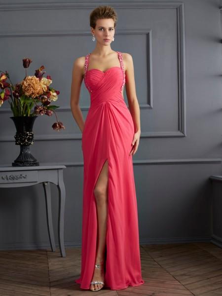Empire Sweetheart Ruffles Dress with Long Chiffon