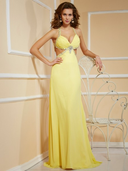 Sheath/Column Spaghetti Straps Beading Dress with Long Chiffon