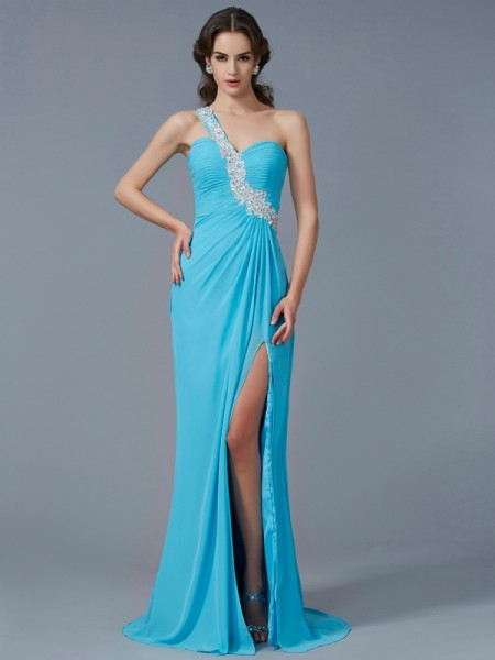 Sheath/Column One-Shoulder Beading Sleeveless Applique Long Chiffon Dresses
