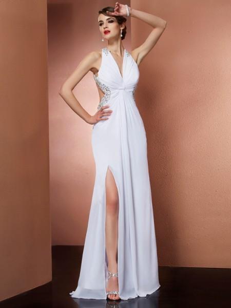 A-Line/Princess Halter Applique Beading Dress with Long Chiffon