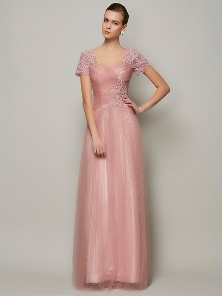 A-Line/Princess Sweetheart Short Sleeves Beading Long Satin Dress