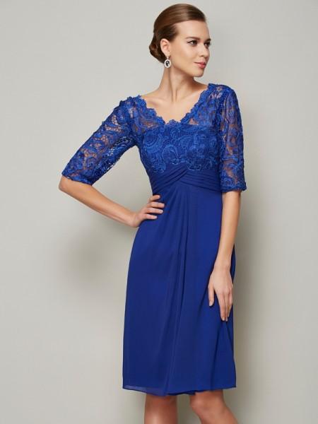 Sheath/Column V-neck 1/2 Sleeves Lace Short Chiffon Mother of the Bride Dress