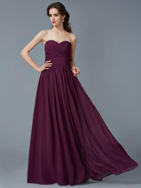 A-Line/Princess Sweetheart Pleats Chiffon Long Dress