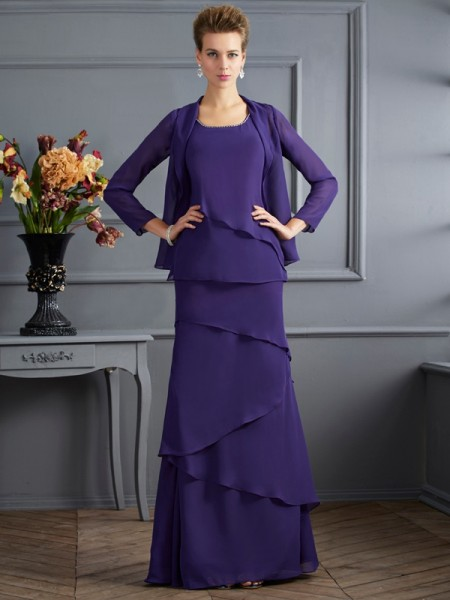 Sheath/Column Scoop Ruffles Mother of the Bride Dress with Long Chiffon