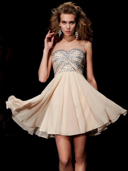A-Line/Princess Scoop Beading Short Chiffon Homecoming Dress