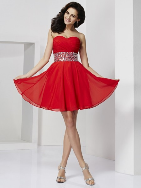 A-Line/Princess Sweetheart Short Chiffon Homecoming Dress