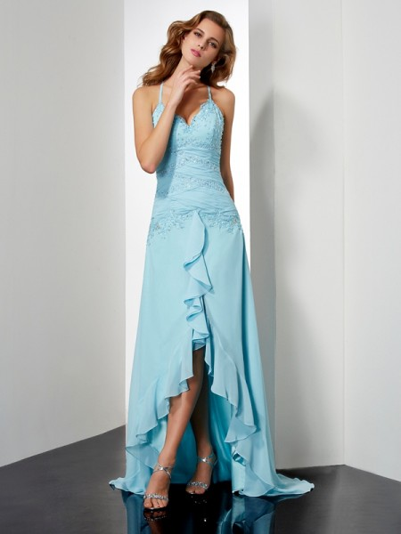 A-Line/Princess Spaghetti Straps Beading Crystal High Low Chiffon Dress