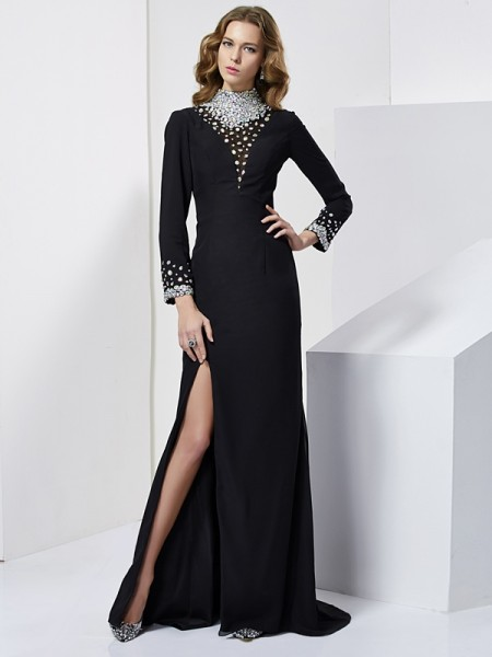 Sheath/Column High Neck Long Sleeves Dress with Long Chiffon