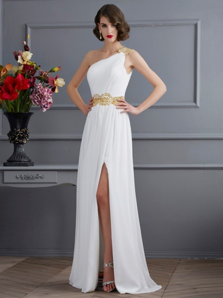 A-Line/Princess One-Shoulder Ruched Dress with Long Chiffon