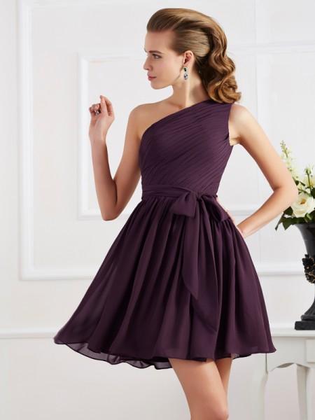 A-Line/Princess Pleats One-Shoulder Short Chiffon Bridesmaid Dress