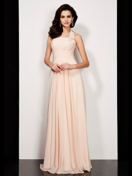 A-Line/Princess Halter Pleats Dress with Long Chiffon