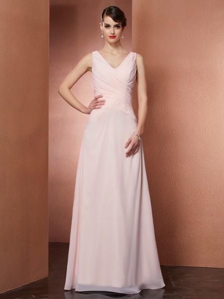 A-Line/Princess V-neck Pleats Dress with Long Chiffon