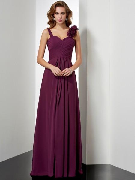 A-Line/Princess Straps Dress with Long Chiffon