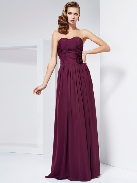 Sheath/Column Sweetheart Dress with Long Chiffon