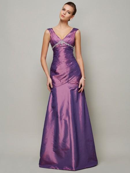 Sheath/Column V-neck Beading Long Taffeta Dress