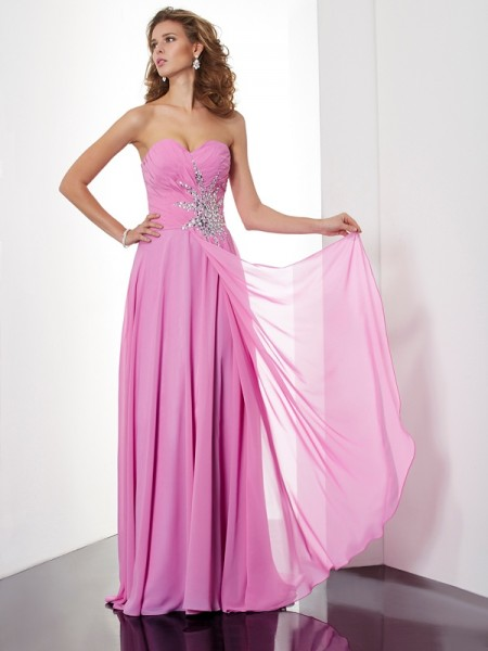 A-Line/Princess Sweetheart Ruched Dress with Long Chiffon