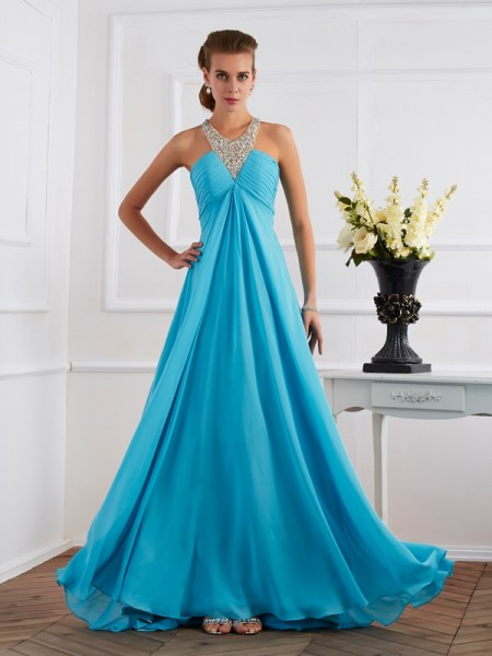 Empire Halter Beading Dress with Long Chiffon