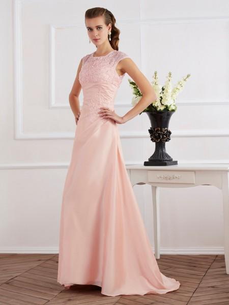 Sheath/Column High Neck Short Sleeves Beading Dress with Long Chiffon