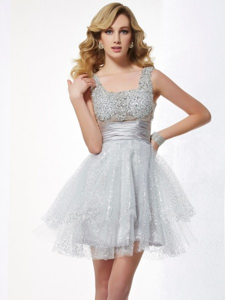 A-Line/Princess Straps Beading Short Elastic Woven Satin Homecoming Dress