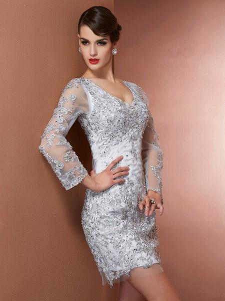 Sheath/Column V-neck Long Sleeves Beading Short Elastic Woven Satin Mother of the Bride Dress