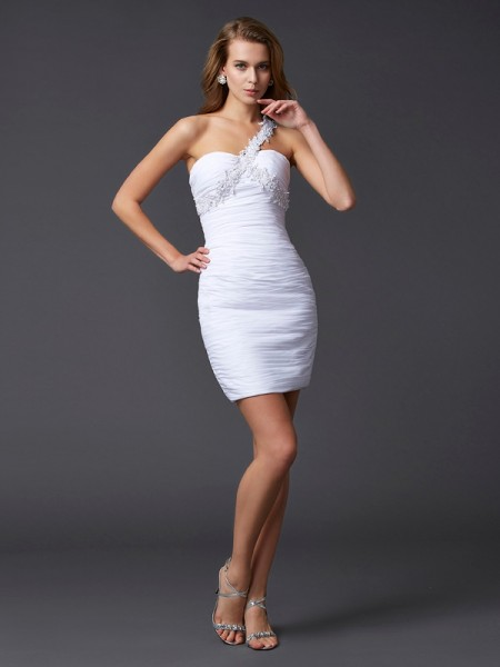 Sheath/Column One-Shoulder Applique Beading Short Chiffon Homecoming Dress